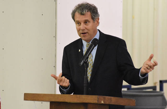 Sen. Sherrod Brown (D-OH) addresses Lima autoworkers, business and civic leaders at the UAW Local 1219 on Wednesday. Craig J. Orosz | The Lima News