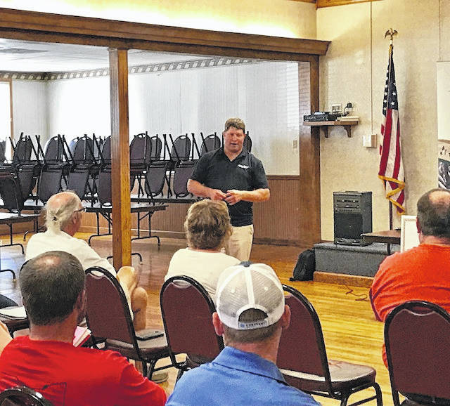 Wisconsin Farmers Union President Darin Von Ruden speaks to an audience, including local farmers, at a dairy farmer forum held at the Maria Stein American Legion Auxiliary Post 571 on Tuesday, Aug. 28.