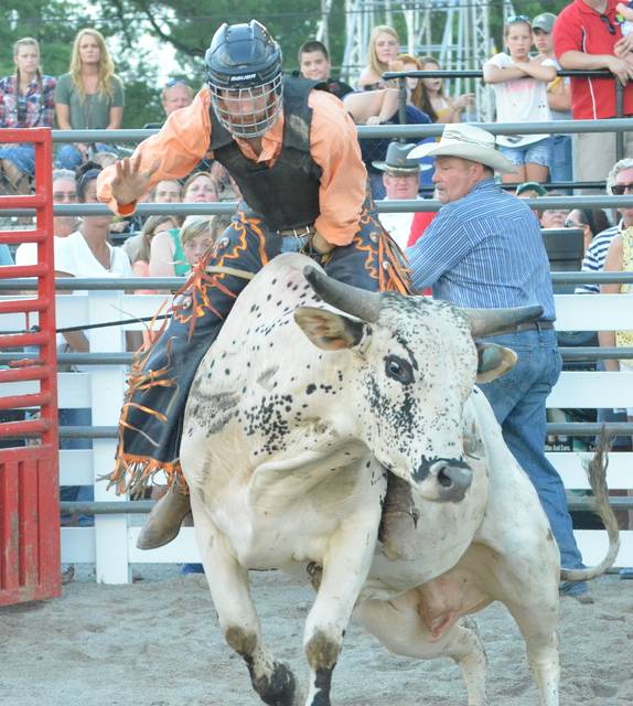 """Bull rider Jesse James, of Celina, begins his ride on a bull named Twister Friday during the Auglaize County Fair bull riding competition at the grandstand. """"The second I hear that buzzer my next thought is 'How do I get off?' It's a lot trickier than it looks,"""" James said after completing his 8-second ride."""