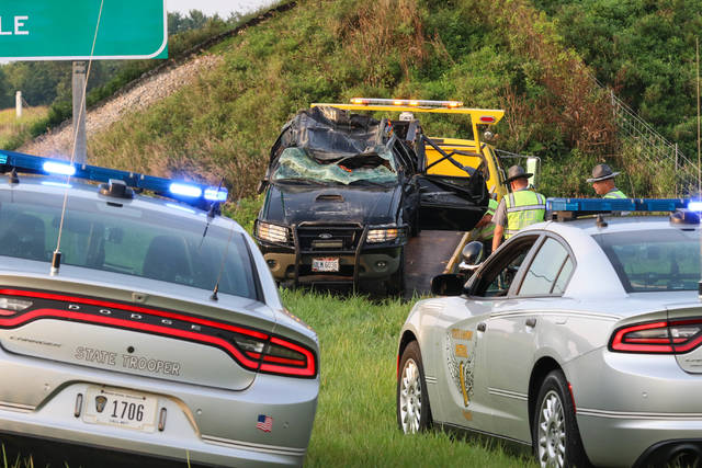 Ohio State Highway Patrol arrived on scene of a single car rollover accident on the southbound lanes of Interstate 75 before exit 110 on Monday morning.