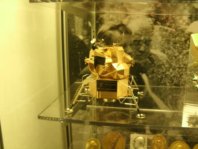 A thief stole a rare gold replica of the 1969 Lunar Excursion Module, made by Cartier for Neil Armstrong, from the Armstrong Air and Space Museum in Wapakoneta. A year later, it still hasn't been recovered, and no arrests have been made.