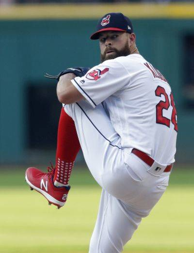 The Indians' Corey Kluber got his first shutout of the season Saturday against the Los Angeles Angels in Cleveland. (AP photo)