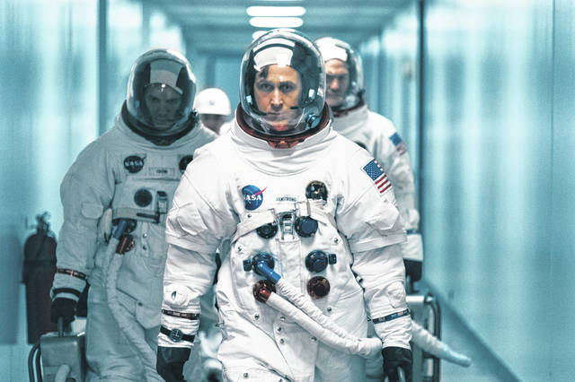 """This image released by Universal Pictures shows Ryan Gosling as Wapakoneta native Neil Armstong in a scene from """"First Man."""""""