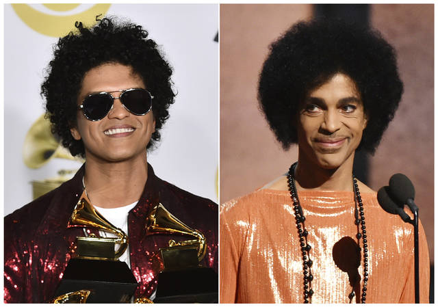 """This combination photo shows Bruno Mars in the press room with his awards at the 60th annual Grammy Awards in New York on  Jan. 28, 2018, left, and Prince presenting the award for album of the year at the 57th annual Grammy Awards in Los Angeles on Feb. 8, 2015. A representative for Mars says a report claiming he will portray Prince in a new movie is false. British tabloid Daily Mirror published a story Saturday, Sept. 8, that said Mars was """"being lined up to play Prince"""" in a biopic to air on Netflix. (AP Photo)"""