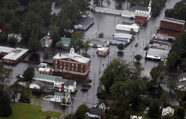Floodwaters from Hurricane Florence inundate the town of Trenton N.C. Sunday Sept. 16 2018