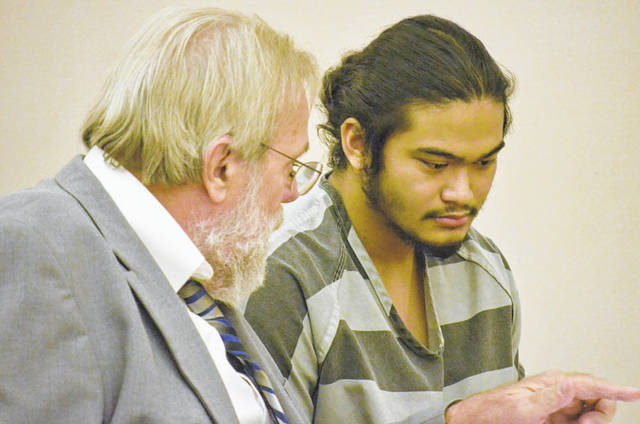 Tristan Ascura, 19, right, of Lima, the teen who allegedly made threats of violence against Elida School in June, appeared in court with attorney Bill Kluge on Wednesday for a hearing to suppress evidence in his case.