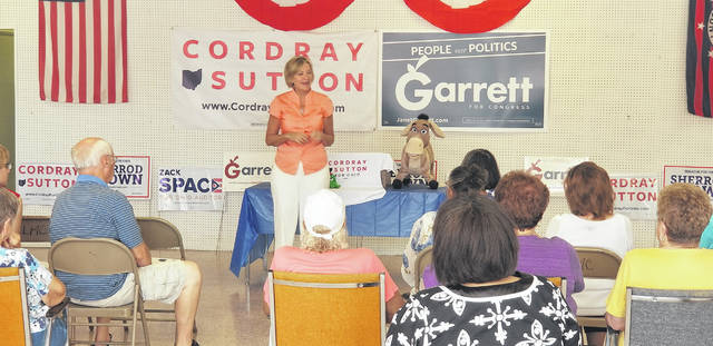 Betty Sutton, the Democratic candidate for Ohio's lieutenant governor, speaks to a crowd of Democrats about the importance of jobs and affordable healthcare during the opening of the Allen County Democratic Party headquarters at 562 W. Market St., Lima, on Monday.