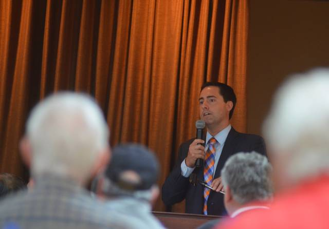 Ohio Secretary of State candidate State Sen. Frank LaRose speaks during the Allen County Republican Party monthly luncheon.