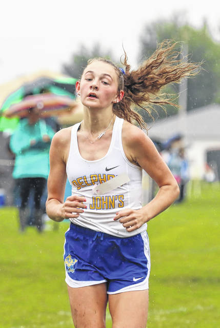 Addy Martin finished ninth for Delphos St. John's, which came in second in the Red Division (small schools) team standings at Saturday's Spencerville Bearcat Cross Country Invitational.