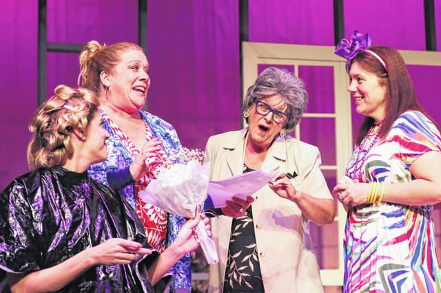 """From left, Veronica Wende, Christa Manning, Terri Spencer and Sarah Glover rehearse for the Encore Theatre presentation of """"Steel Magnolias."""""""