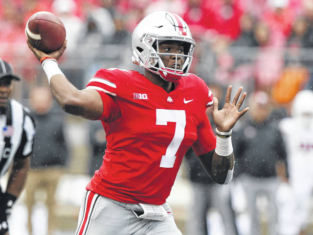 Ohio State's Dwayne Haskins drops back to pass during Saturday's game against Rutgers at Ohio Stadium in Columbus.