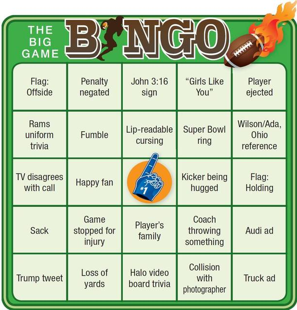 graphic relating to Printable Super Bowl Bingo Cards titled Huge sport bingo: Playing cards toward perform alongside at house - The Lima Information